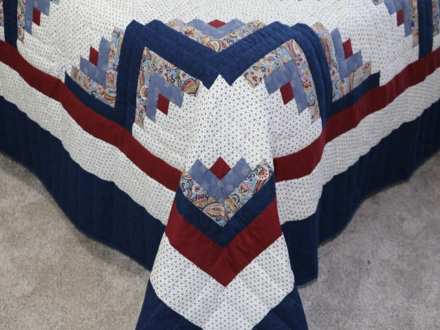 Blue and Burgundy Lone Star Log Cabin Quilt Photo 7
