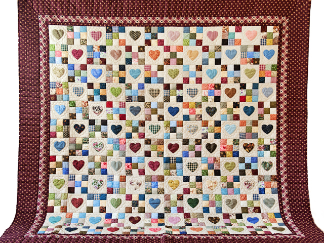 King Burgundy and Multicolor Hearts and Nine Patch Quilt Photo 2