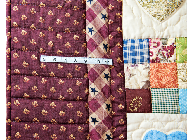 King Burgundy and Multicolor Hearts and Nine Patch Quilt Photo 4