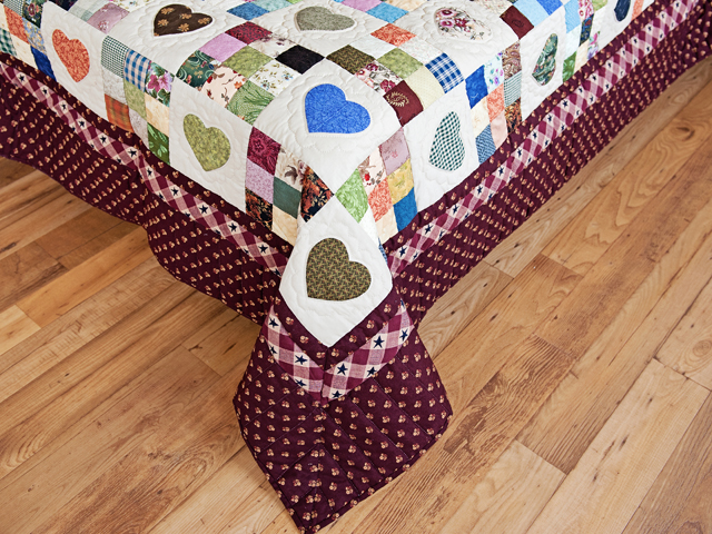 King Burgundy and Multicolor Hearts and Nine Patch Quilt Photo 7