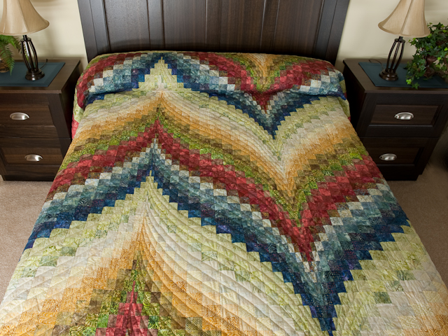 Bargello Flame Batik style fabrics  King size bed Photo 1