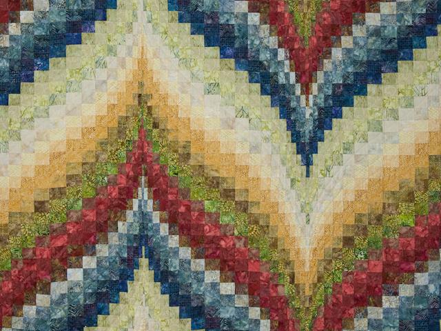 Bargello Flame Batik style fabrics  King size bed Photo 3