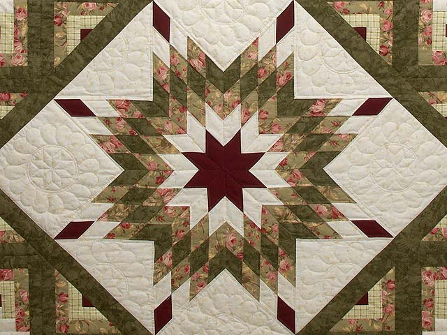 Moss Green and Burgundy Lone Star Log Cabin Quilt Photo 3