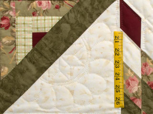 Moss Green and Burgundy Lone Star Log Cabin Quilt Photo 5
