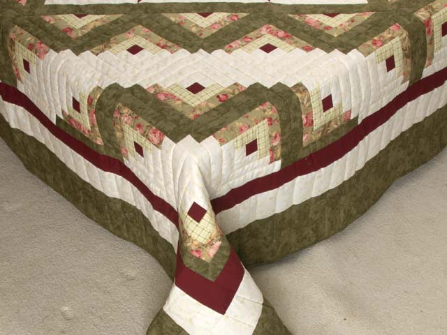 Moss Green and Burgundy Lone Star Log Cabin Quilt Photo 7