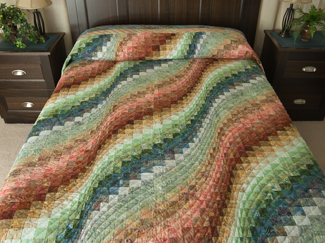 King Bargello Wave in Batiks Paprika, Blue, Gold and Green Photo 1