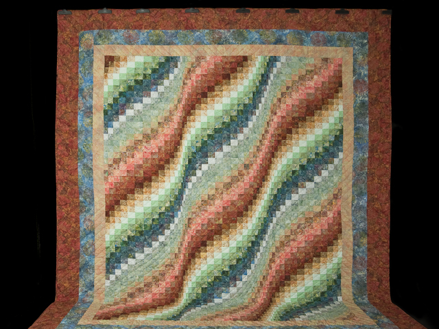 King Bargello Wave in Batiks Paprika, Blue, Gold and Green Photo 2