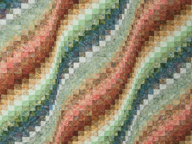 King Bargello Wave in Batiks Paprika, Blue, Gold and Green Photo 3