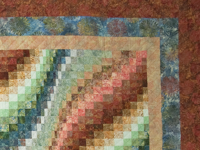 King Bargello Wave in Batiks Paprika, Blue, Gold and Green Photo 4