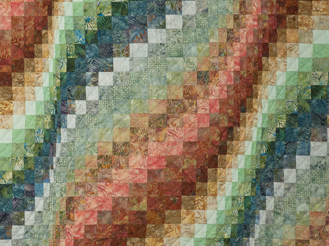King Bargello Wave in Batiks Paprika, Blue, Gold and Green Photo 5