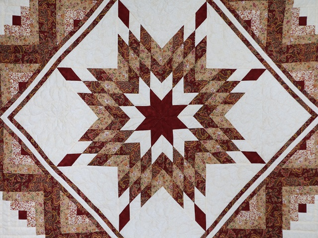 Burgundy and Cream Lone Star Log Cabin Quilt Photo 3