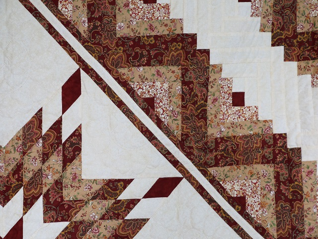 Burgundy and Cream Lone Star Log Cabin Quilt Photo 4