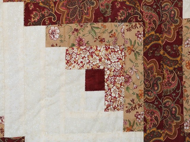 Burgundy and Cream Lone Star Log Cabin Quilt Photo 5