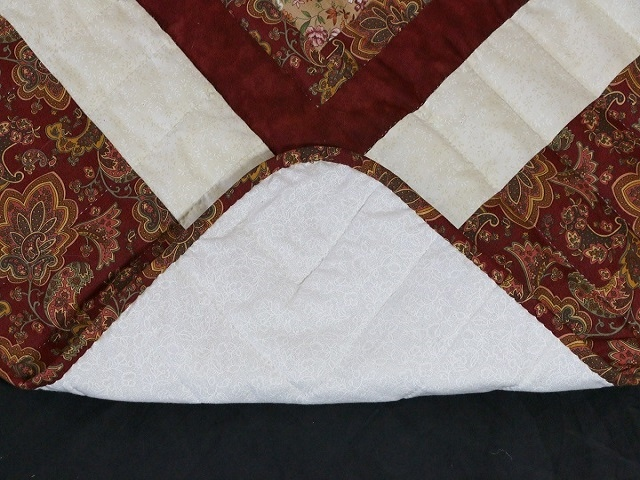 Burgundy and Cream Lone Star Log Cabin Quilt Photo 7