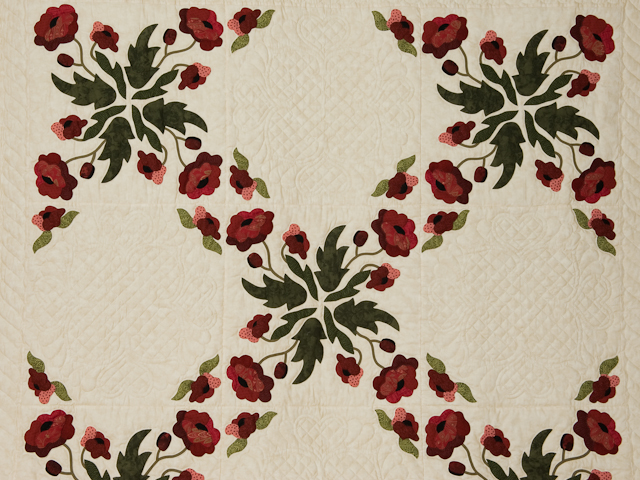 Poppy Fields Quilt Burgundy and green on ivory Photo 3