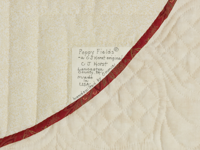 Poppy Fields Quilt Burgundy and green on ivory Photo 6