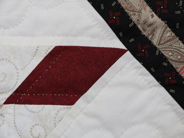 Black and Burgundy Lone Star Log Cabin Quilt Photo 6