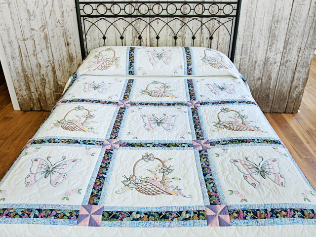 Basket and Butterfly Embroidered Quilt Photo 1