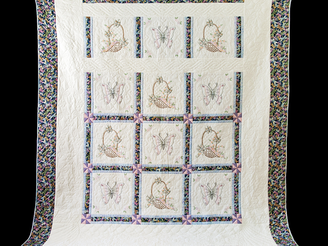 Basket and Butterfly Embroidered Quilt Photo 2