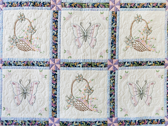 Basket and Butterfly Embroidered Quilt Photo 3