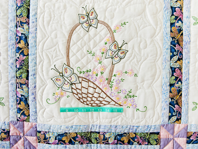Basket and Butterfly Embroidered Quilt Photo 5