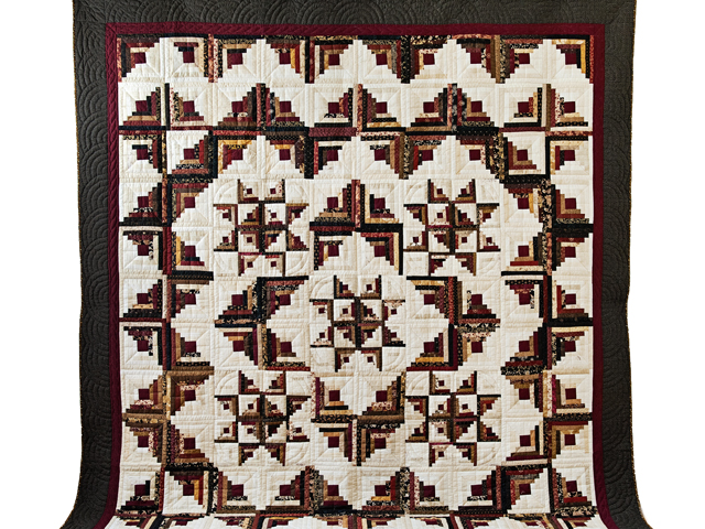 Earthtones Log Cabin with Stars Quilt Photo 2