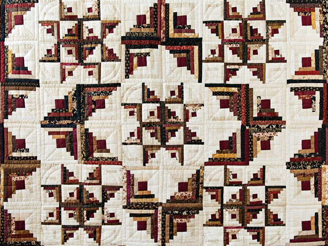 Earthtones Log Cabin with Stars Quilt Photo 3