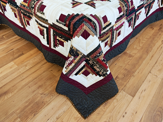 Earthtones Log Cabin with Stars Quilt Photo 7