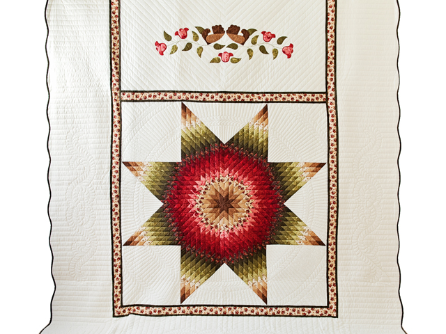 Brown, Red and Green Lone Star Quilt Photo 2
