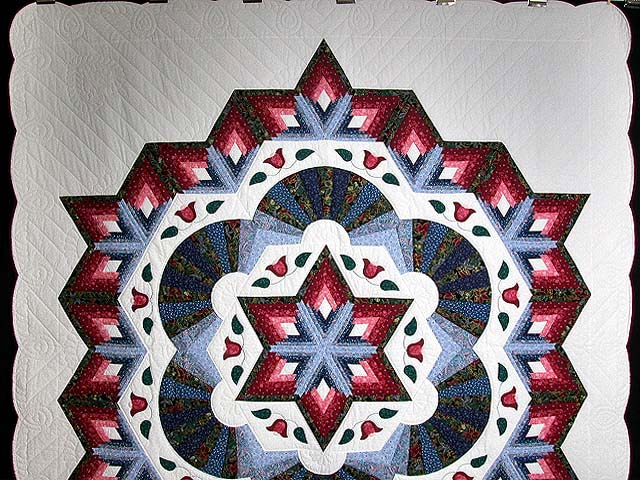 Blue and Rose Cathedral Star Quilt Photo 2