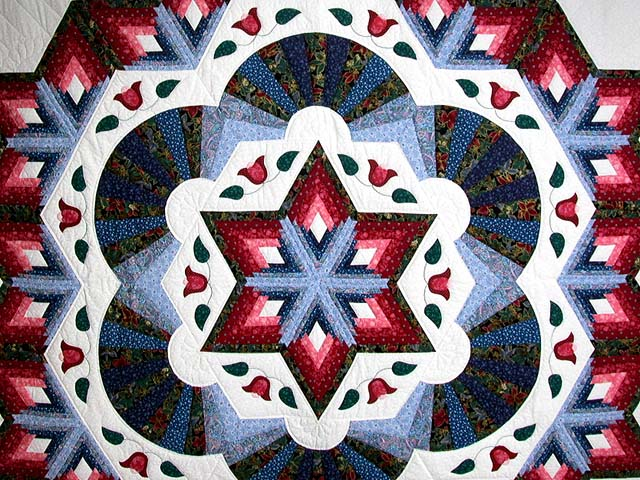 Blue and Rose Cathedral Star Quilt Photo 3