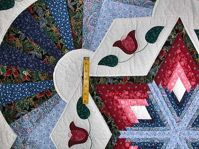 Blue and Rose Cathedral Star Quilt Photo 4