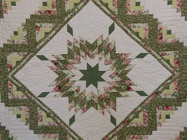 Soft Greens  and Cream Lone Star Log Cabin Quilt Photo 3