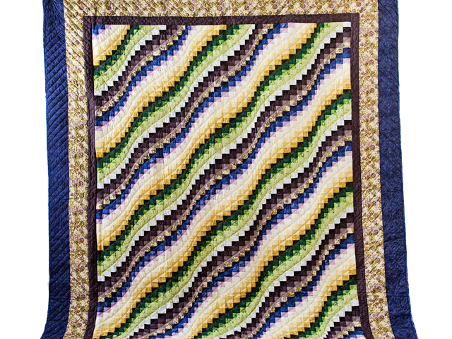 Purple, Green and Gold Bargello Wave Quilt Photo 2