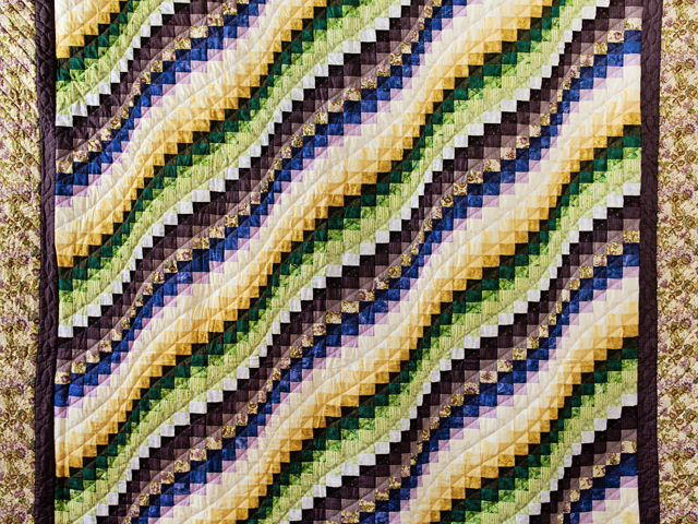 Purple, Green and Gold Bargello Wave Quilt Photo 3