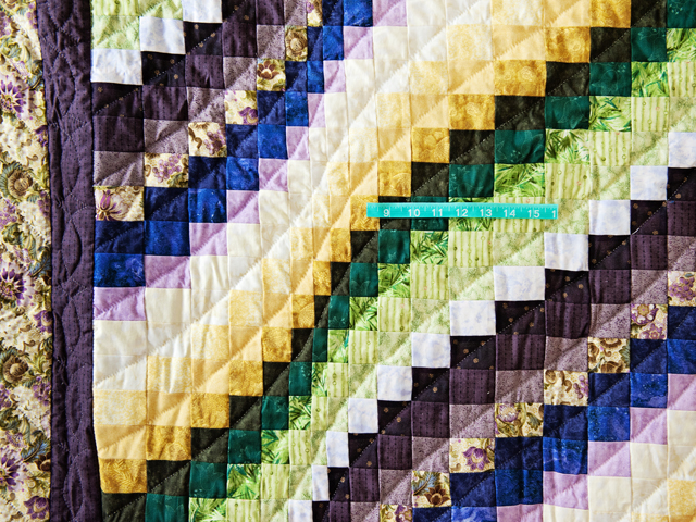 Purple, Green and Gold Bargello Wave Quilt Photo 4