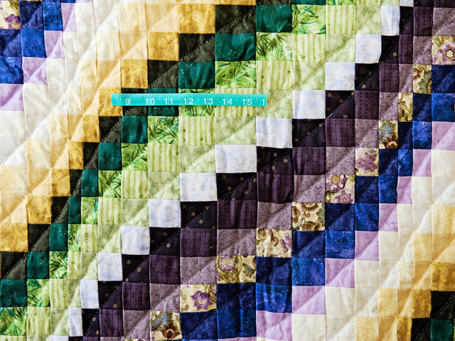 Purple, Green and Gold Bargello Wave Quilt Photo 5