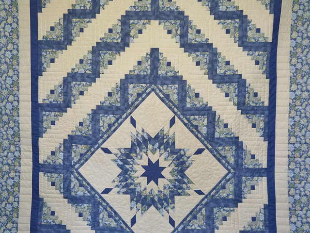 Blue and Yellow Lone Star Log Cabin Quilt Photo 2