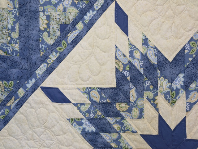 Blue and Yellow Lone Star Log Cabin Quilt Photo 4