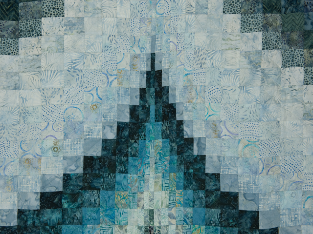 Bargello Flame Batik ocean spray blues 