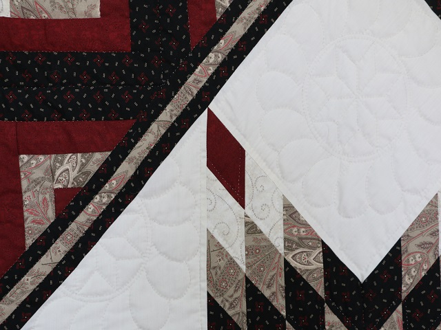 Black and Burgundy Lone Star Log Cabin Quilt Photo 4