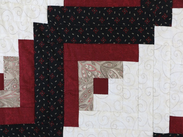Black and Burgundy Lone Star Log Cabin Quilt Photo 5