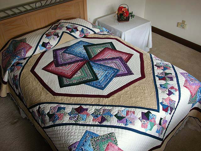 Multicolor Tan and Burgundy Star Spin Quilt Photo 1
