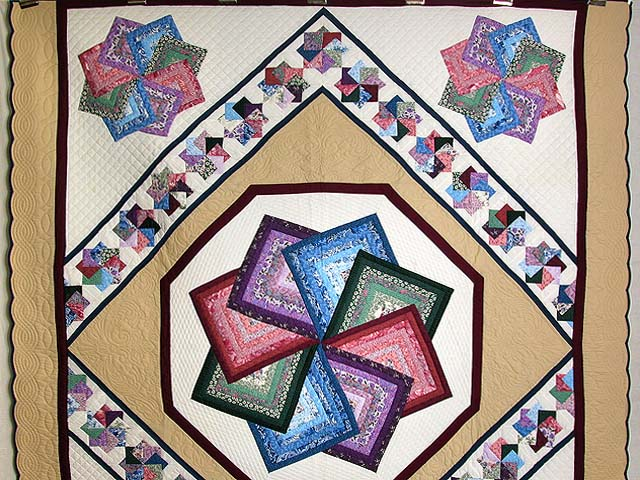 Multicolor Tan and Burgundy Star Spin Quilt Photo 2