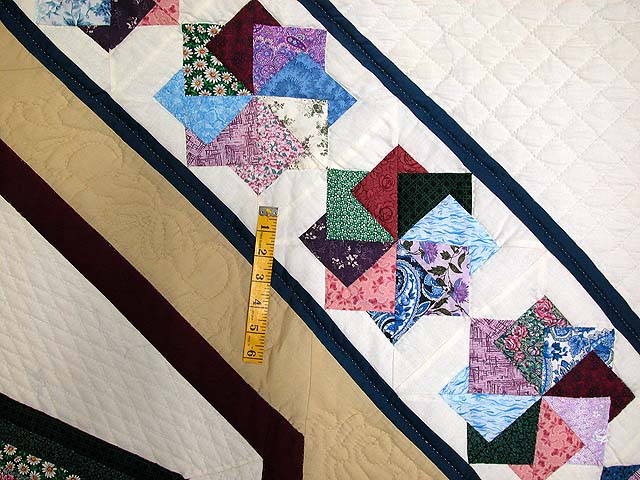Multicolor Tan and Burgundy Star Spin Quilt Photo 6