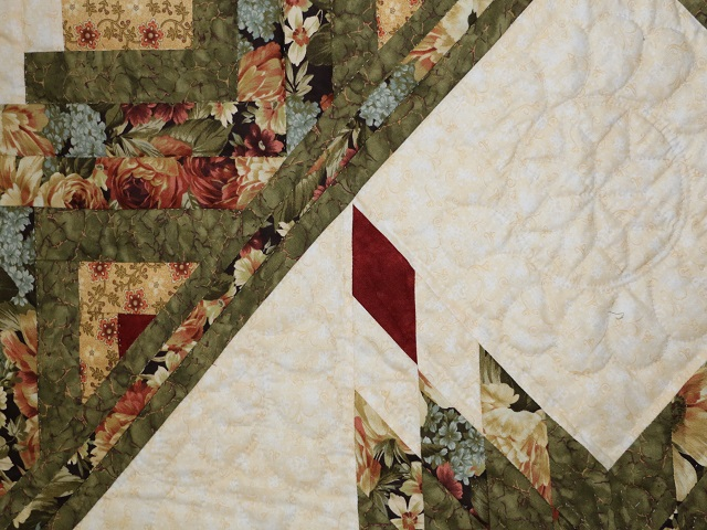 Moss Green and Deep Burgundy Lone Star Log Cabin Quilt Photo 4