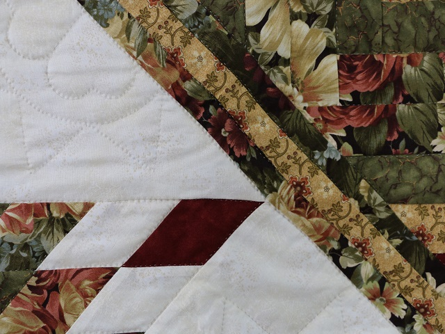Moss Green and Deep Burgundy Lone Star Log Cabin Quilt Photo 5