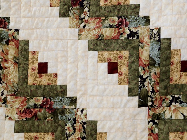 Moss Green and Deep Burgundy Lone Star Log Cabin Quilt Photo 6