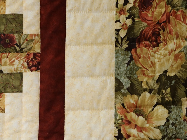 Moss Green and Deep Burgundy Lone Star Log Cabin Quilt Photo 7
