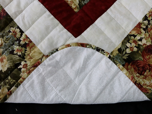 Moss Green and Deep Burgundy Lone Star Log Cabin Quilt Photo 8
